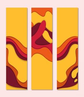 秋の色の影と3 dペーパーカットスタイルバナー垂直形状