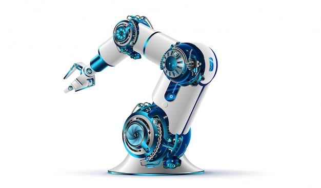 白い背景の3 dロボットアーム