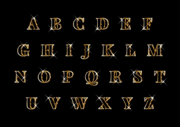 豪華なエレガントな3 dゴールドアルファベットセット