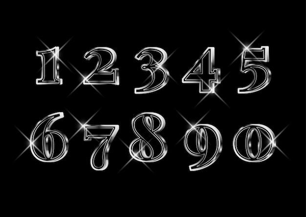 豪華なエレガントな3 dシルバー番号セット