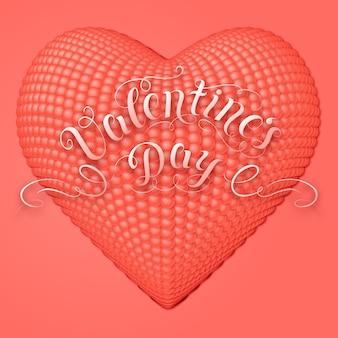 3 dハートのバレンタインカード