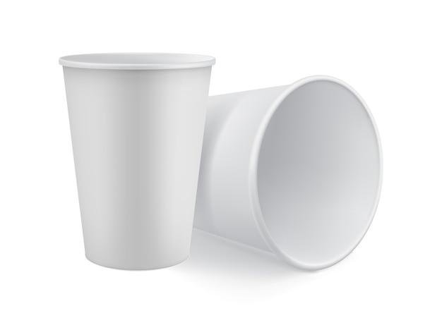 空白の白い3 dモデルはカップを奪います