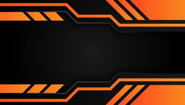 モダンな3 d形状の暗い背景にオレンジ色の罫線と黒い線