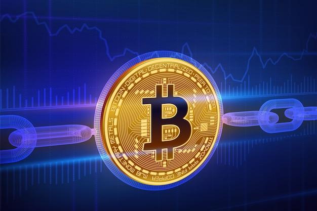 暗号通貨。ブロックチェーン。ビットコイン。ワイヤフレームチェーンと3 d等尺性の物理的な黄金のビットコイン。ブロックチェーンのコンセプト。