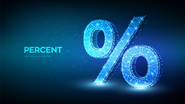 パーセント記号。 3 d低多角形の抽象的なパーセント記号。銀行、計算、割引のビジネスコンセプトです。