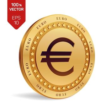 ユーロ硬貨。分離された3 dの物理コイン。