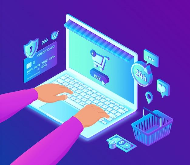 オンラインショッピング。ノートパソコンのキーボードの手。 3 dの等尺性銀行カード、お金、買い物袋。