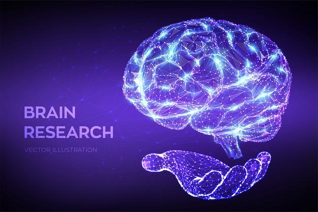 脳。 3 d低ポリゴンの抽象的な人間の脳を手に。神経網。