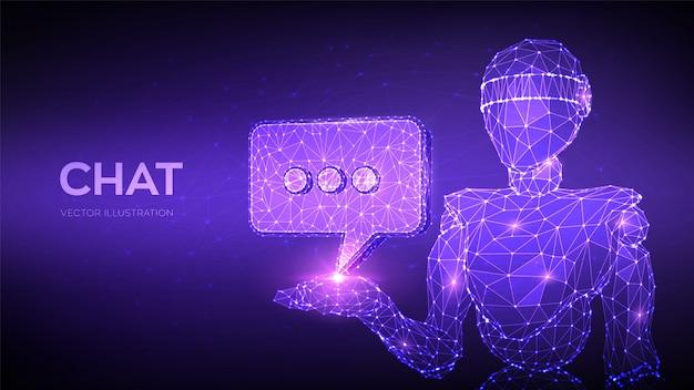 チャットボット。チャットアイコンを保持している抽象的な3 d低多角形ロボット。吹き出しメッセージシンボル。