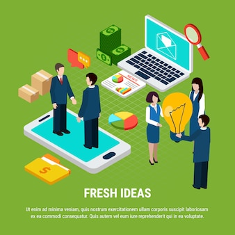 ノートパソコンのスマートフォンと新鮮なアイデアの3 dイラストを共有する人々とデジタルマーケティング等尺性