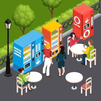 スナックや飲み物の3 d等尺性ベクトル図を販売する自動販売機で屋外カフェでコーヒーを飲む人