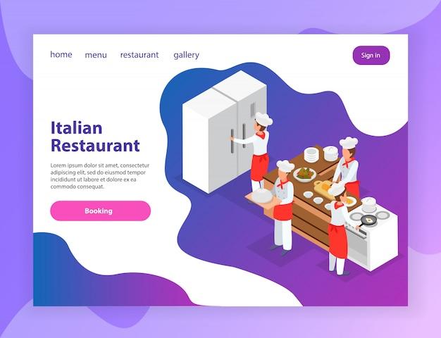 キッチン3 d等尺性ベクトルイラストで様々な料理を調理するシェフとイタリアンレストランのウェブサイト等尺性ランディングページ