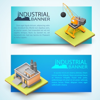 建設車両と工場の水平3 dバナーの構築