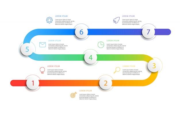 現実的な3 dラウンド要素を持つビジネスタイムラインワークフローインフォグラフィック。フラットラインマーケティングのアイコンを持つ現代企業レポートテンプレート