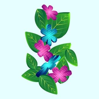 3 dの葉と花は青い背景に装飾されています。