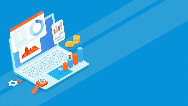 ビジネス機器と青い背景上のアプリケーションの3 dノートパソコン。
