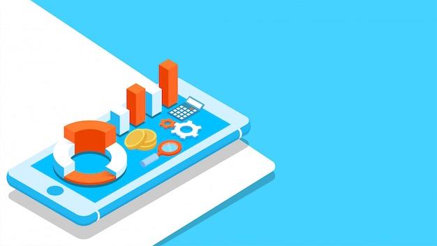 スマートフォンの画面上の3 dアイソメトリックビジネスインフォグラフィック要素。