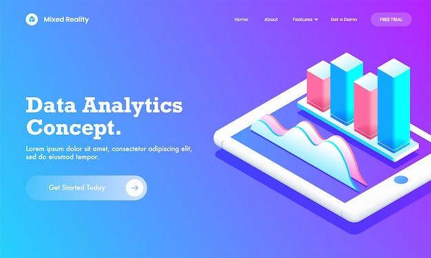 データ分析概念のウェブサイトまたはランディングページデザインのスマートフォン画面上の分析グラフグラフとインフォグラフィック棒グラフの3 dイラストレーション。