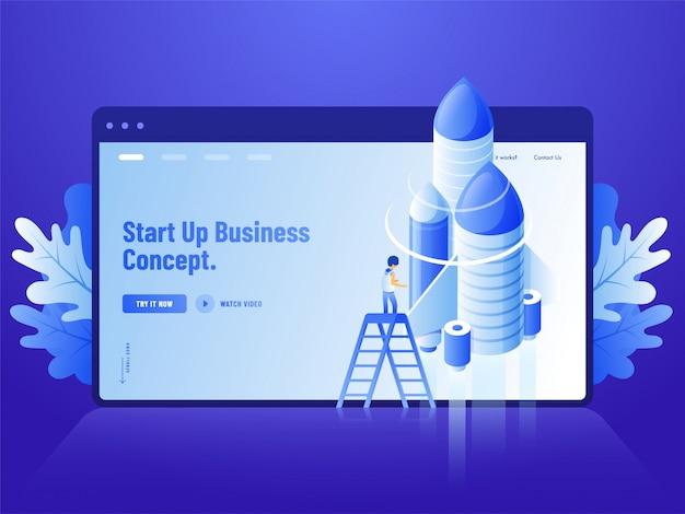 青いウェブサイトのランディングページデザイン、ビジネスコンセプトを開始するためのロケットが付いている梯子の上に立っている人間の3 dイラストを広告します。