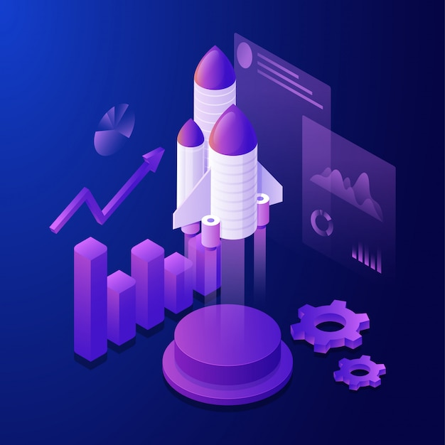 インフォグラフィック要素と複数の画面を持つロケットの3 dイラストレーション
