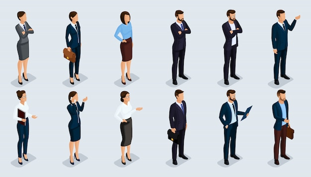 人等尺性3 d、等尺性のビジネスマン、ビジネス女性ビジネス服人間の動き