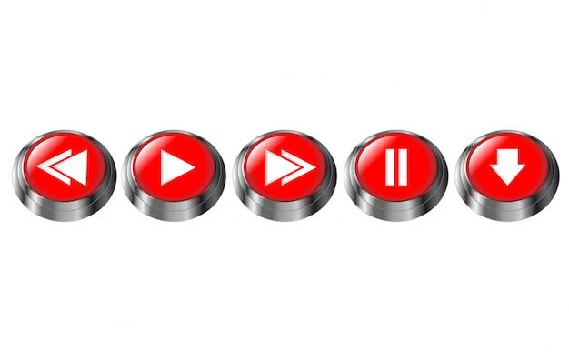 赤い丸いマルチメディアボタン。一時停止、再生、次へ、前へ、ダウンロードボタン。光沢のあるクロームフレームアイコン。分離された3 dベクトル図