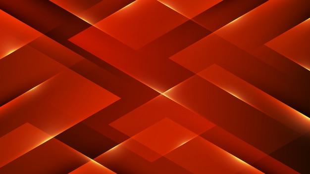 輝くラインと3 d赤い幾何学的図形の背景