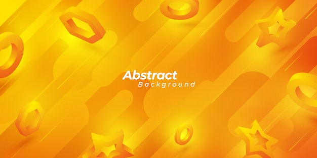 3 d形状とオレンジ色の抽象的な背景。