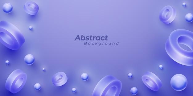 3 d形状と抽象的な紫色の背景。