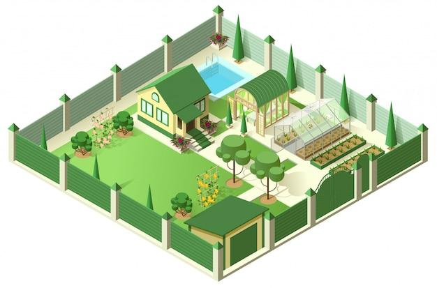 高いフェンスの後ろの土地のプロットと民家の庭。等尺性3 dイラスト