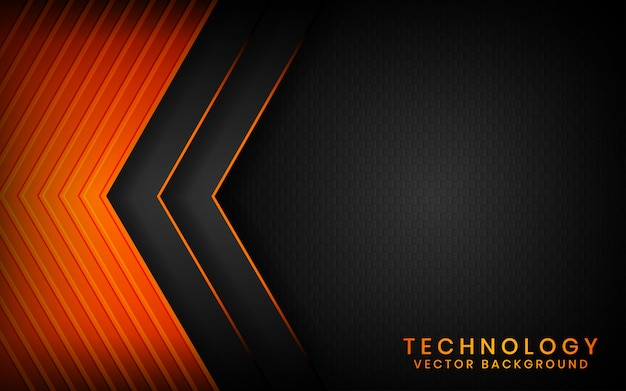 オレンジ色の光の効果の装飾が施された暗い空間上の抽象的な3 dブラックテクノロジー背景オーバーラップレイヤー
