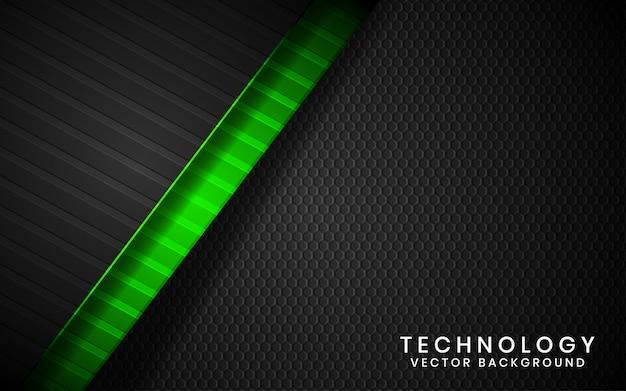 抽象的な3 dブラックテクノロジーの背景が緑色の光の効果の装飾と暗い空間上のレイヤーをオーバーラップ