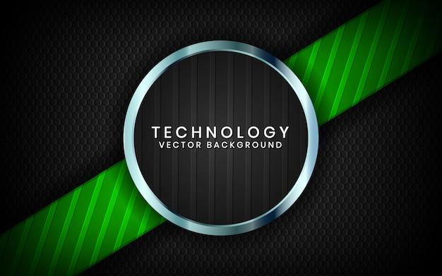 抽象的な3 dブラックサークル技術の背景は、緑色の光の効果の装飾と暗い空間上のレイヤーをオーバーラップします