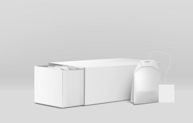 ハーブティー包装3 dベクトルモックアップテンプレート