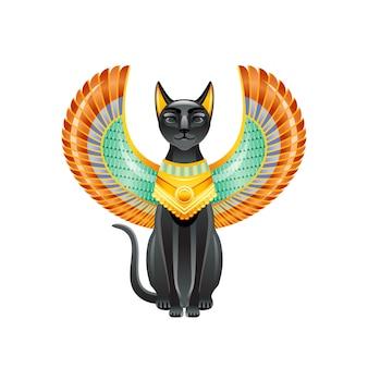 エジプトの猫。バステトの女神。スカラベの羽と金のネックレスを持つ黒い猫。古代エジプト美術の小像。漫画の3 dアイコンのデザイン。
