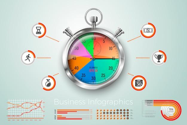現実的な3 dアラーム時計ビジネスインフォグラフィック、アイコン、グラフ。