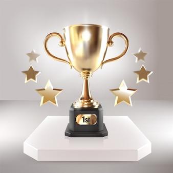 星と黄金のチャンピオンカップ。ベクトルのリアルな3 dイラスト。優勝トロフィー。スポーツ大会賞。勝利のコンセプト