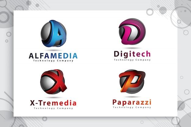 アルファベットのロゴのコレクションにモダンな色と3 dスタイルのコンセプトを設定します。