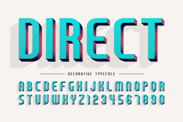 装飾的な3 dフォント、文字と数字のイラスト。