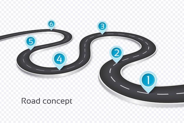 曲がりくねった3 d道路インフォグラフィックコンセプト