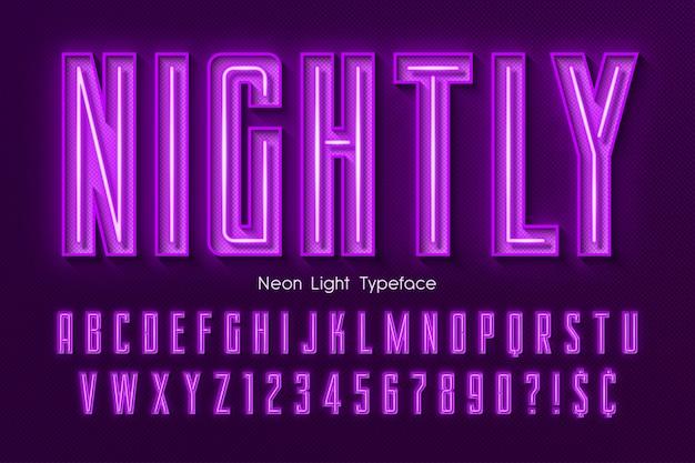ネオンライト3 dアルファベット、余分な輝くフォント