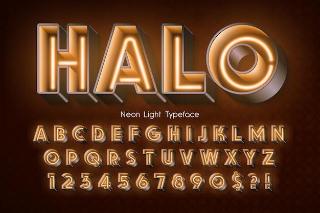 ネオンライト3 dアルファベット、余分な光るフォント。