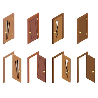 ドアの等尺性コレクション。平らな3 d閉じた、開いた、木製のドア。