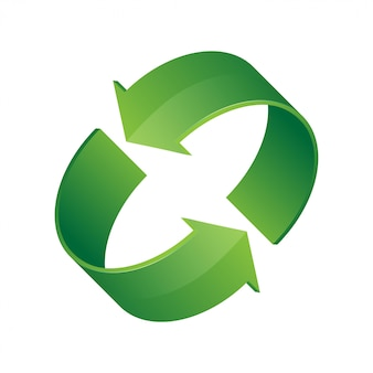 3 d緑のリサイクルアイコン。循環ローテーション、リサイクル、リニューアルの象徴。