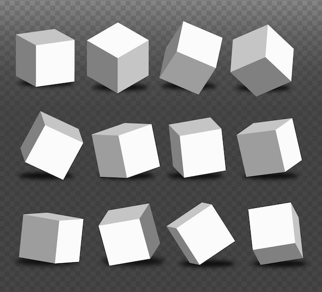白いブロックセット。 3 dモデリングホワイトキューブ、遠近法、異なる角度のボックス。