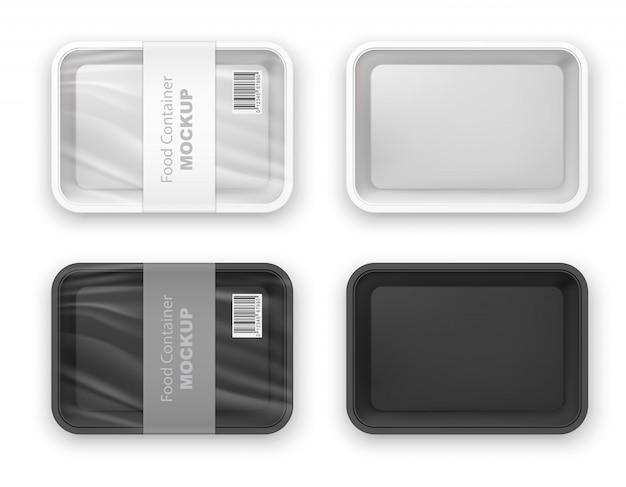 空の黒と白のプラスチック製のファーストフードトレイコンテナー。製品パッケージの空のテンプレート。白で隔離される現実的な3 dイラスト