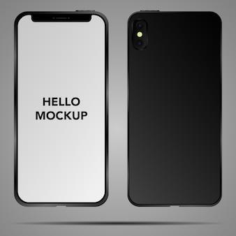 モバイルスマートフォンの図。オリジナルデザインのモックアップ画面、孤立した電話テンプレートの現実的な詳細な3 dモデルサーフェス。