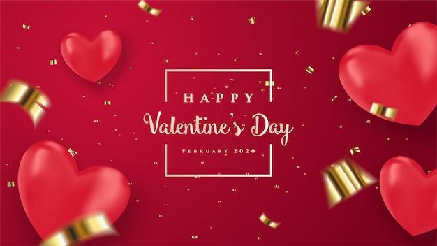バレンタインのグリーティングカード。赤い3 d愛バルーンのイラスト