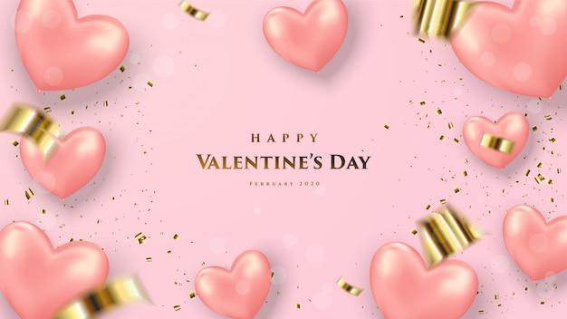 ピンクの3 dバルーンと単語のイラストとバレンタインデーの背景