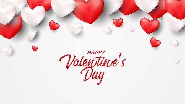 赤と白の3 dバルーンイラストバレンタイン背景。